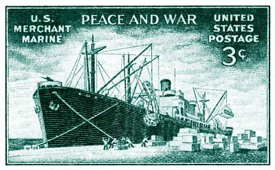 1946 Merchant Marine Stamp Poster