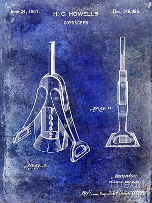 1947 Corkscrew Patent Blue Poster by Jon Neidert