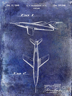 1947 Jet Airplane Patent Blue Poster by Jon Neidert