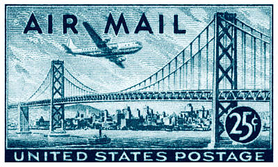 1947 San Francisco Air Mail Stamp Poster by Historic Image