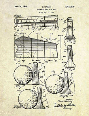 1947 Universal Golf Head Patent Art Poster