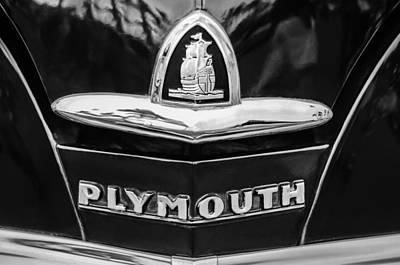 1948 Plymouth Emblem -0388bw Poster by Jill Reger