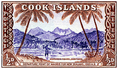 Poster featuring the painting 1949 Native Fishing, Cook Islands by Historic Image
