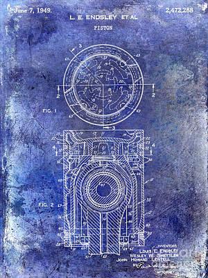 1949 Piston Patent Blue Poster by Jon Neidert