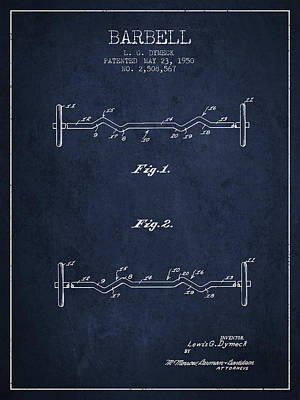 1950 Barbell Patent Spbb04_nb Poster by Aged Pixel