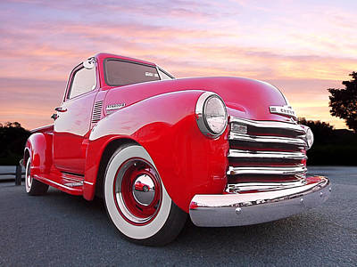 1950 Chevy Pick Up At Sunset Poster