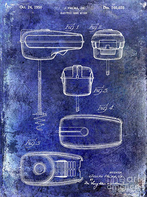 1950 Electric Hand Mixer Patent Blue Poster