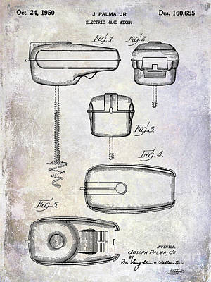 1950 Electric Hand Mixer Patent Poster