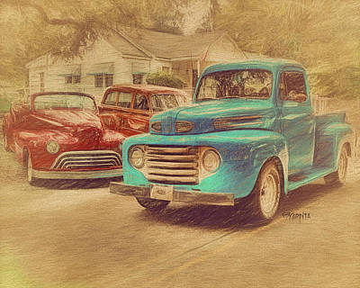 1950 Ford Truck Classic Cars - Homecoming Poster by Rebecca Korpita