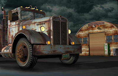 Poster featuring the digital art 1950 Kenworth by Stuart Swartz