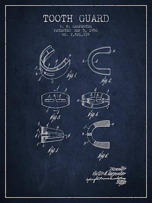 1950 Tooth Guard Patent Spbx16_nb Poster by Aged Pixel