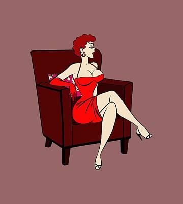 1950s Cartoon Pinup Girl Poster