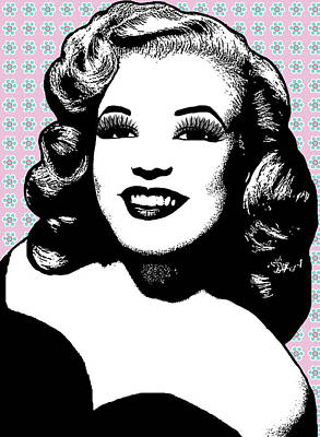 1950s Glamour Girl And Flowers Poster by Elizavella Bowers