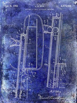 1951 Baseball Pitching Machine Patent Blue Poster
