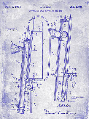 1951 Baseball Pitching Machine Patent Blueprint  Poster by Jon Neidert