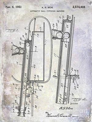 1951 Baseball Pitching Machine Patent Poster by Jon Neidert