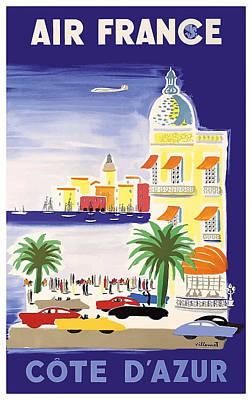 1952 Air France Cote De Azur Travel Poster Poster