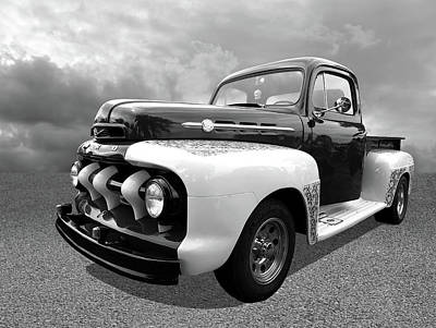 1952 Ford F-1 In Black And White Poster