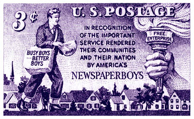 1952 Newspaper Boys Stamp Poster by Historic Image