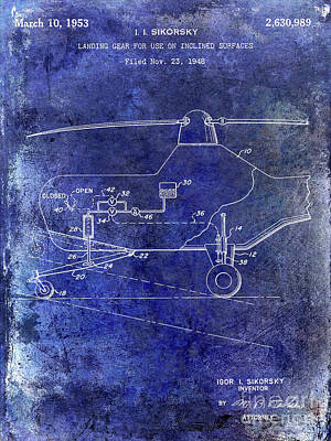 1953 Helicopter Patent Blue Poster by Jon Neidert