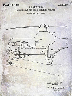 1953 Helicopter Patent Poster by Jon Neidert