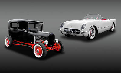 1954 Chevy Corvette And A 1928 Ford Sedan  -  1954vette1928fdsed6868 Poster