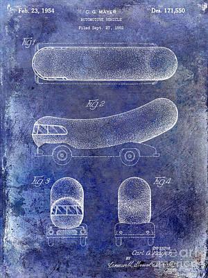 1954 Weiner Mobile Patent Blue Poster by Jon Neidert