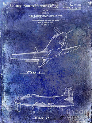 1955  Airplane Patent Drawing Blue Poster