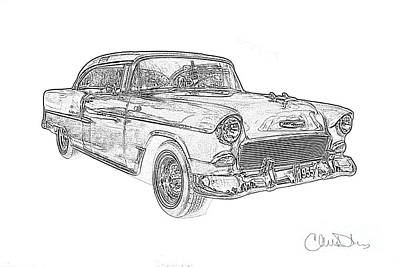 1955 Bel Air Chevrolet Pencil Drawing Poster