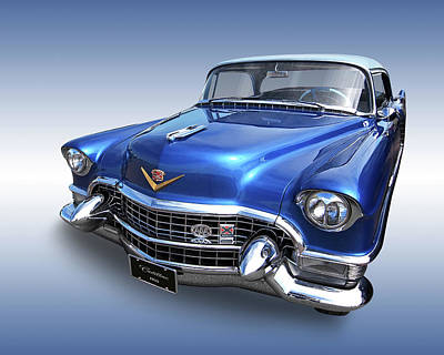 1955 Cadillac Blue Poster by Gill Billington