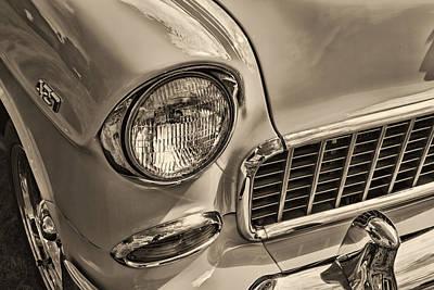 1955 Chevrolet Belair Black And White Poster