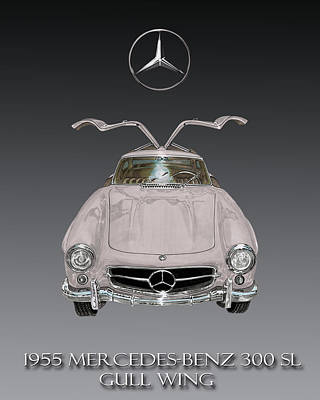 1955 Mercedes Benz Gull Wing 300 S L  Poster by Jack Pumphrey