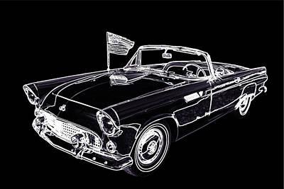 1955 Thunderbird Drawing Fine Art Prints 1274.01 Poster by M K  Miller