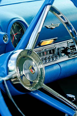 1956 Ford Thunderbird Steering Wheel And Emblem Poster by Jill Reger