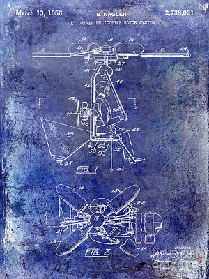 1956 Helicopter Patent Blue Poster by Jon Neidert