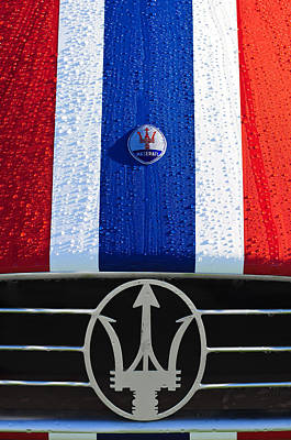 Poster featuring the photograph 1956 Maserati 350 S Hood Ornament Emblem 3 by Jill Reger