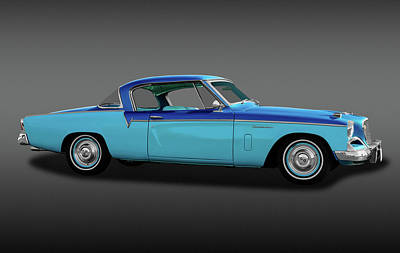Poster featuring the photograph 1956 Studebaker Sky Hawk Coupe  -  1956studebakerskyhawkfa170517 by Frank J Benz