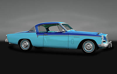 Poster featuring the photograph 1956 Studebaker Sky Hawk Coupe  -  1956studebakerskyhawkgry170517 by Frank J Benz