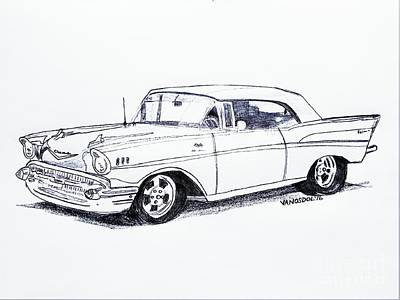 1957 Chevy Bel Air - Graphite Pencil Poster by Scott D Van Osdol