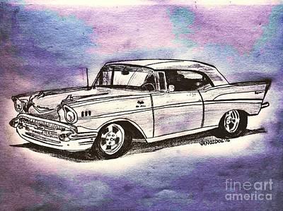 1957 Chevy Bel Air - Purple Abstract Poster by Scott D Van Osdol