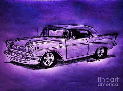 1957 Chevy Bel Air - Purple Neons Poster by Scott D Van Osdol