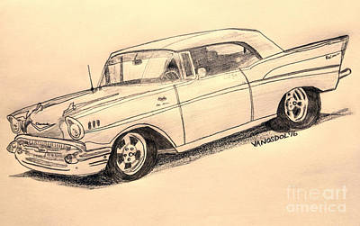 1957 Chevy Bel Air Sport Coupe -  Aged Beauty Poster by Scott D Van Osdol
