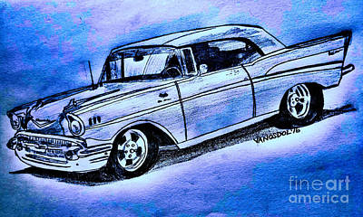 1957 Chevy Bel Air Sport Coupe - Blue Abstract Poster by Scott D Van Osdol