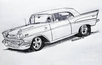 1957 Chevy Bel Air Sport Coupe - Graphite Pencil Poster by Scott D Van Osdol