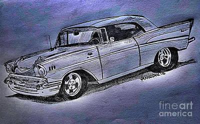 1957 Chevy Bel Air Sport Coupe - Silver Fox  Poster by Scott D Van Osdol