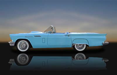 1957 Ford Thunderbird  -  1957tbird010 Poster by Frank J Benz