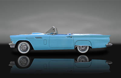 1957 Ford Thunderbird  -  57fdtbirdbw010 Poster by Frank J Benz