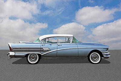 1958 Buick Roadmaster 75 Poster by Gill Billington