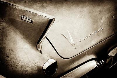 Poster featuring the photograph 1958 Cadillac Eldorado Biarritz Taillight Emblems -0255s by Jill Reger