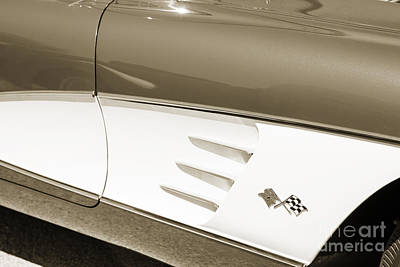 1958 Corvette By Chevrolet Side Panel And A Sepia Photograph 348 Poster